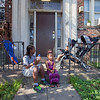 The Society's Urban Photography Series includes guided photo tours of neighborhoods in each of the District's eight wards. The tour of  Brightwood (Ward 4) was led by Pat Tyson. <br /> <br /> PICTURED:  Residents outside of 1301 Missouri Avenue NW.<br /> <br /> Shot 6/29/2013. Credit: Anne McDonough, © Historical Society of Washington, D.C.