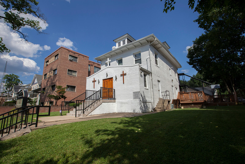 The Society's Urban Photography Series includes guided photo tours of neighborhoods in each of the District's eight wards. The tour of  Brightwood (Ward 4) was led by Pat Tyson. <br /> <br /> PICTURED: Fellowship Baptist Church, 5605 Colorado Avenue NW.<br /> <br /> Shot 6/29/2013. Credit: Anne McDonough, © Historical Society of Washington, D.C.