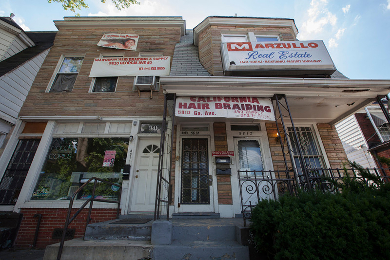 The Society's Urban Photography Series includes guided photo tours of neighborhoods in each of the District's eight wards. The tour of  Brightwood (Ward 4) was led by Pat Tyson. <br /> <br /> PICTURED: California Hairbraiding, 5810 Georgia Avenue NW.<br /> <br /> Shot 6/29/2013. Credit: Anne McDonough, © Historical Society of Washington, D.C.