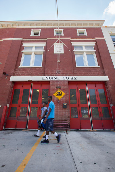 The Society's Urban Photography Series includes guided photo tours of neighborhoods in each of the District's eight wards. The tour of  Brightwood (Ward 4) was led by Pat Tyson. <br /> <br /> PICTURED:  Engine Company 22, 5760 Georgia Avenue, NW.<br /> <br /> Shot 6/29/2013. Credit: Anne McDonough, © Historical Society of Washington, D.C.