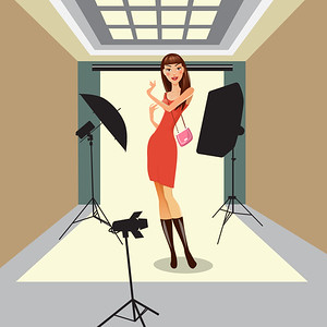 Model Poses in Photo Studio. Beautiful Young Woman on Photosession. Vector illustration
