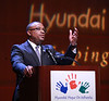 COSTA MESA, CA - APRIL 17: Zafar Brooks, Director of Corporate Responsibility and Diversity Hyundai Motor America speaks during the Hyundai Hope on Wheels Handprint Ceremony at the Segerstrom Center for the Arts - Samueli Theater on April 17, 2012 in Costa Mesa, California. (Photo by Ryan Miller/Capture Imaging)
