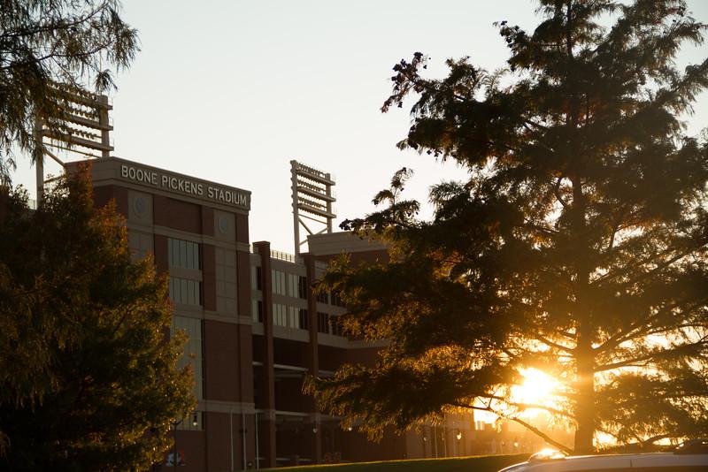 Sunset over Boone Pickens Stadium