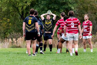 University of Iowa Men's Rugby Team vs. University of Indiana Men's Rugby Team. Iowa City, IA. 15 October, 2016.
