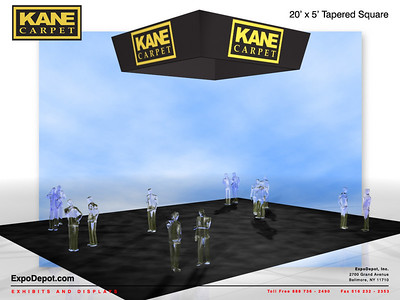Kane Carpet, 20'x 5'  Tapered Square Hanging Structure Rendering http://expodepot.com/hanging-fabric-structures-c-187.html
