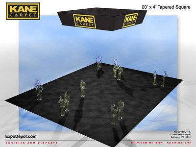 Kane Carpet, 20'x 4'  Tapered Square Hanging Structure Rendering http://expodepot.com/hanging-fabric-structures-c-187.html