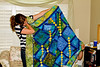 Beautiful handmade quilt by aunt and cousin of the bride, Mitzi and Tennille