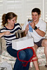 Opening presents together as Mr. and Mrs. Crossland