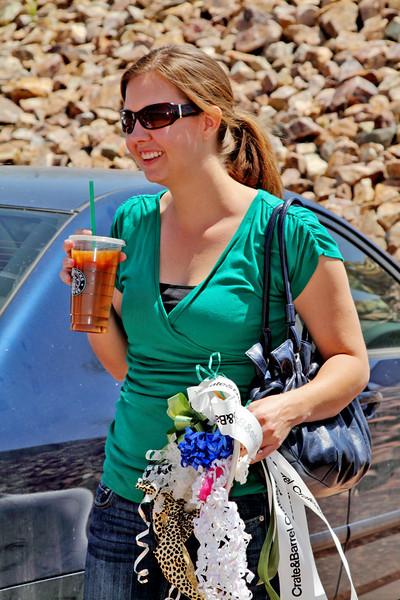 Kimberly enjoying her favorite bevrage, a Starbuck's iced americano.