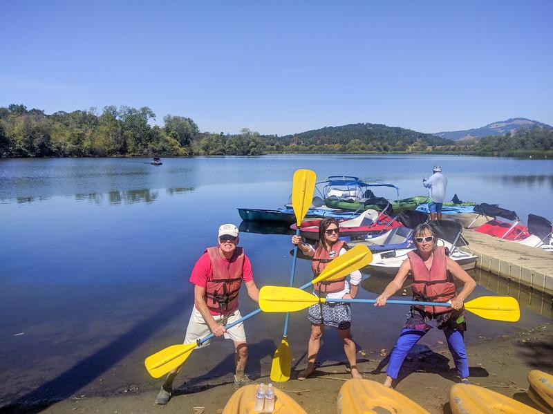 Kirk, Julia, Brenda pre-wedding paddlewars