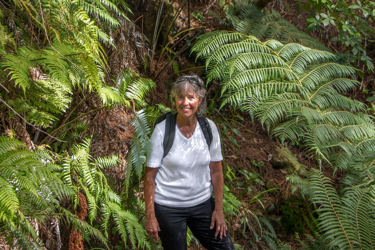 Brenda on Mt Pauanui descent 5614