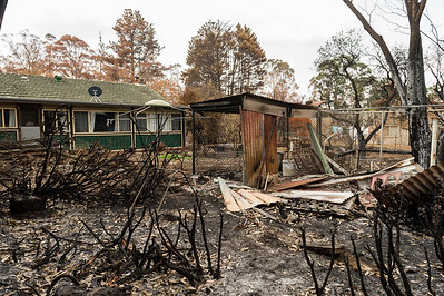 Old Hume Highway, AUSTRALIA - JANUARY 14: A property damaged by bush fires off the Old Hume Highway, NSW.