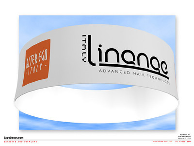 Linange, Circular Hanging Structure 12x3.5 Rendering  http://expodepot.com/hanging-fabric-structures-c-187.html
