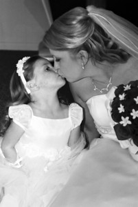 kissing the flowergirl