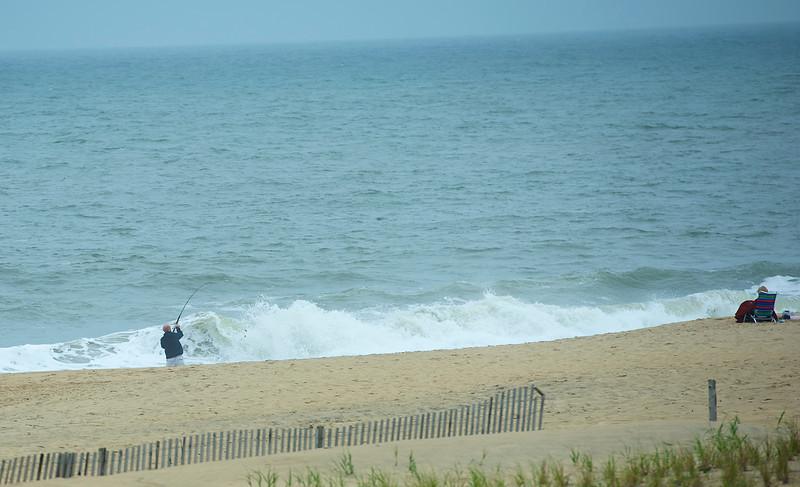 Surf fishing.