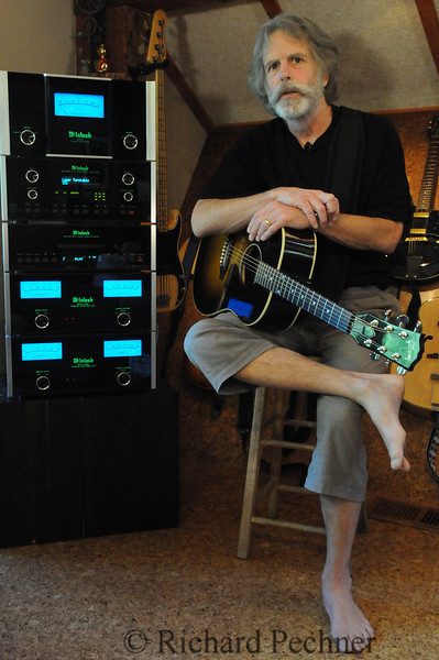 Bob Weir at home with his McIntosh gear.  Look for this to appear in Guitar Aficionado this month in an ad by McIntosh.