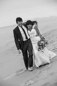 Couple in the sand dunes