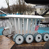 A model of the 1970 Soviet lunar rover in a playground next to the Buran.