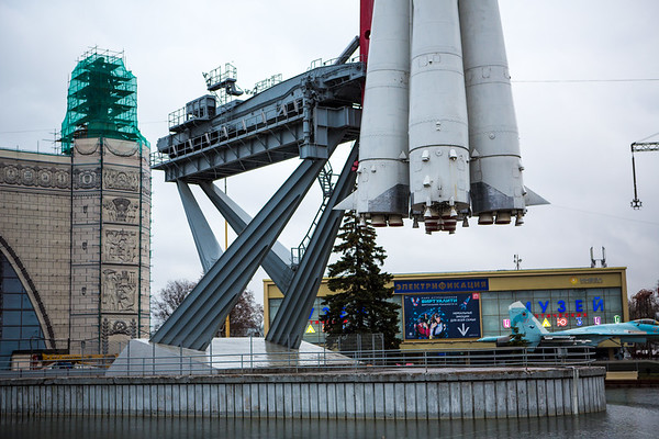 At the far end of the plaza is an impressive full-scale replica of a Vostok rocket.