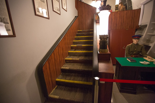 Built at the same level of the deepest underground metro rail lines, much of the bunker was built with materials used in the train station like these non-moveable stairs made of escalator steps and rubber railings.