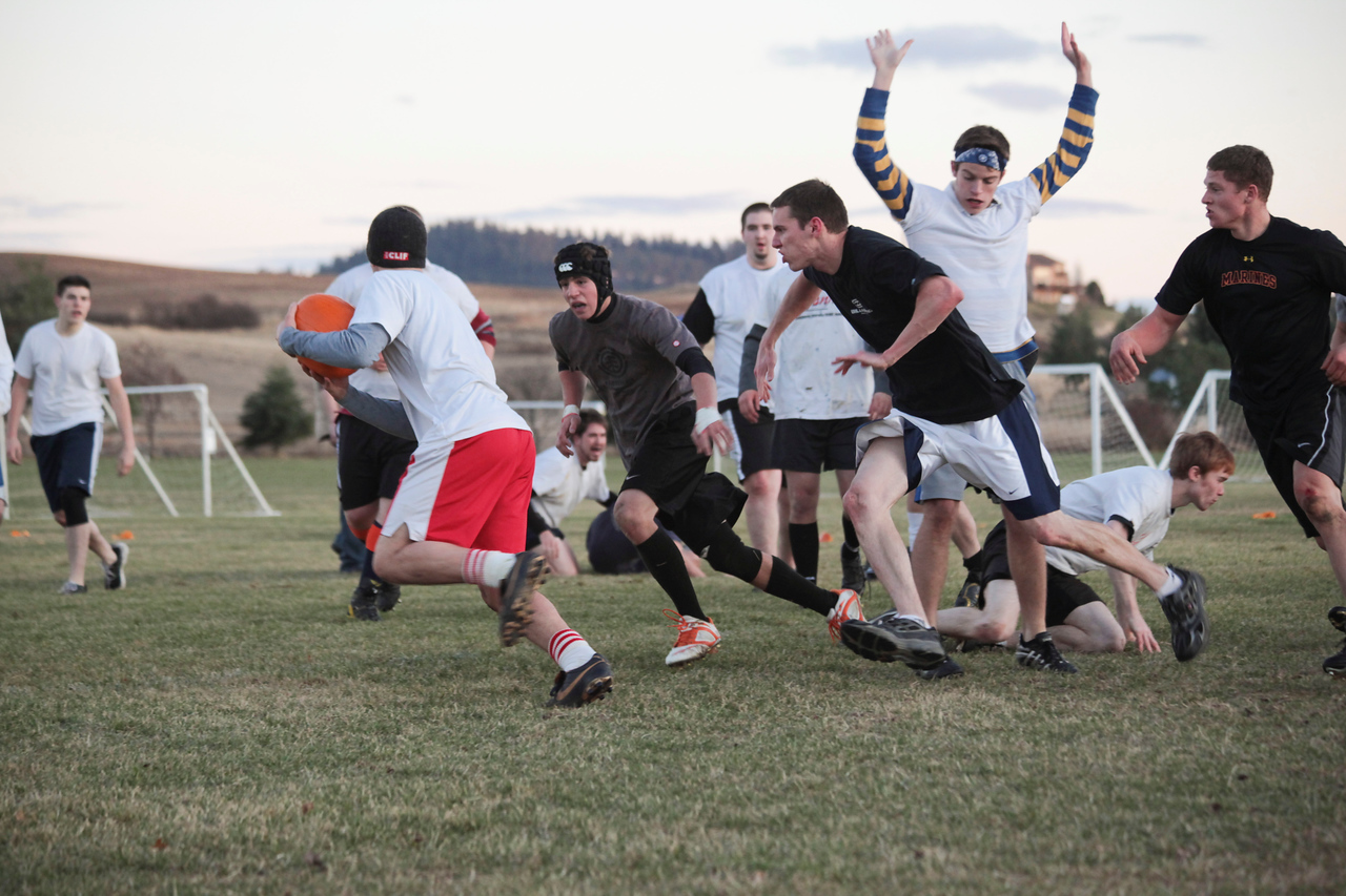 The Mexican Embassy and House of Schwandt teams battled it out on a cold November evening for the annual Pumpkin Rugby title.  Mexican Embassy trounced the House of Schwandt while smashing many pumpkins.