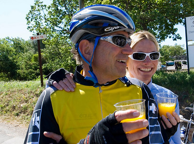 Bob and Mary Ellen Daretta toast mimosas to their anniversary with the Trek Travel group outside of Crillon le-Brave in the heart of Provence, France