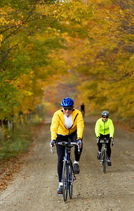 Trek Travel guests cycling on tree shrouded backroads through the green mountains en route to Stowe Vermont.