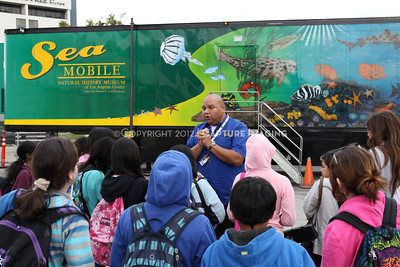 1202026-010        CARSON, CA - FEBRUARY 27: The NHM Seamobile at Carnegie Middle School on February 27, 2012 in Carson, California. (Photo by Ryan Miller/Capture Imaging)