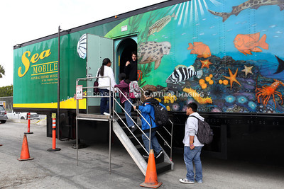 1202026-030        CARSON, CA - FEBRUARY 27: The NHM Seamobile at Carnegie Middle School on February 27, 2012 in Carson, California. (Photo by Ryan Miller/Capture Imaging)