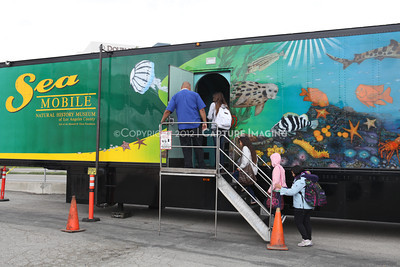 1202026-019        CARSON, CA - FEBRUARY 27: The NHM Seamobile at Carnegie Middle School on February 27, 2012 in Carson, California. (Photo by Ryan Miller/Capture Imaging)