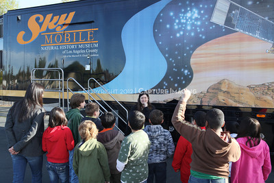 1202021-043        WOODLAND HILLS, CA - FEBRUARY 21:  The NHM Skymobile at Calvert Elementary School on February 21, 2012 in Woodland Hills, California. (Photo by Ryan Miller/Capture Imaging)
