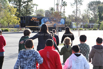 1202021-026        WOODLAND HILLS, CA - FEBRUARY 21:  The NHM Skymobile at Calvert Elementary School on February 21, 2012 in Woodland Hills, California. (Photo by Ryan Miller/Capture Imaging)