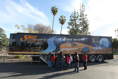 1202021-039        WOODLAND HILLS, CA - FEBRUARY 21:  The NHM Skymobile at Calvert Elementary School on February 21, 2012 in Woodland Hills, California. (Photo by Ryan Miller/Capture Imaging)