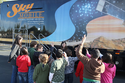 1202021-044        WOODLAND HILLS, CA - FEBRUARY 21:  The NHM Skymobile at Calvert Elementary School on February 21, 2012 in Woodland Hills, California. (Photo by Ryan Miller/Capture Imaging)