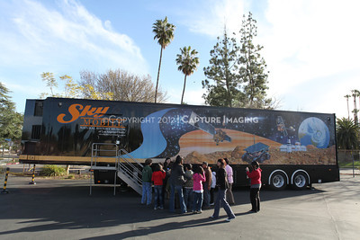 1202021-038        WOODLAND HILLS, CA - FEBRUARY 21:  The NHM Skymobile at Calvert Elementary School on February 21, 2012 in Woodland Hills, California. (Photo by Ryan Miller/Capture Imaging)