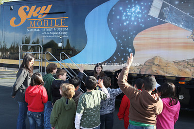 1202021-045        WOODLAND HILLS, CA - FEBRUARY 21:  The NHM Skymobile at Calvert Elementary School on February 21, 2012 in Woodland Hills, California. (Photo by Ryan Miller/Capture Imaging)