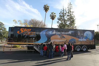 1202021-040        WOODLAND HILLS, CA - FEBRUARY 21:  The NHM Skymobile at Calvert Elementary School on February 21, 2012 in Woodland Hills, California. (Photo by Ryan Miller/Capture Imaging)
