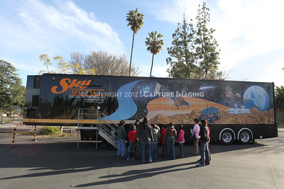 1202021-041        WOODLAND HILLS, CA - FEBRUARY 21:  The NHM Skymobile at Calvert Elementary School on February 21, 2012 in Woodland Hills, California. (Photo by Ryan Miller/Capture Imaging)