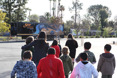 1202021-027        WOODLAND HILLS, CA - FEBRUARY 21:  The NHM Skymobile at Calvert Elementary School on February 21, 2012 in Woodland Hills, California. (Photo by Ryan Miller/Capture Imaging)