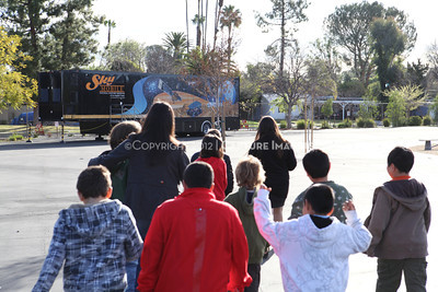 1202021-028        WOODLAND HILLS, CA - FEBRUARY 21:  The NHM Skymobile at Calvert Elementary School on February 21, 2012 in Woodland Hills, California. (Photo by Ryan Miller/Capture Imaging)