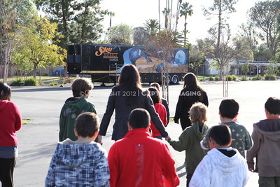 1202021-025        WOODLAND HILLS, CA - FEBRUARY 21:  The NHM Skymobile at Calvert Elementary School on February 21, 2012 in Woodland Hills, California. (Photo by Ryan Miller/Capture Imaging)