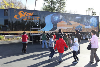 1202021-037        WOODLAND HILLS, CA - FEBRUARY 21:  The NHM Skymobile at Calvert Elementary School on February 21, 2012 in Woodland Hills, California. (Photo by Ryan Miller/Capture Imaging)