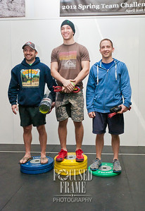 The top three male athletes of the event.