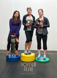 The top three female athletes of the event.