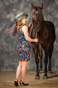 Patton with Rosie Napravnik wearing the hat designed in his honor 11.11.13 at Old Friends.