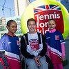 British tennis stars Annabel Croft, Joss Rae and Alfie Hewett are pictured in London and Manchester at Britain's biggest tennis balls, to launch Tennis For Kids as sign-ups for the much anticipated course, open today. The six-week course provides kids, aged 4-11, from across the country with an affordable and fun introduction to tennis.