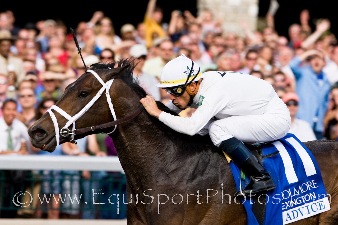 Advice (Chapel Royal), Garrett Gomez up, wins the Coolmore Lexington Stakes at Keeneland 4.18.2009 (No Photo Credit Please for race photos, EquiSport Photos)