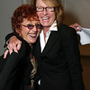LOS ANGELES, CA - SEPTEMBER 27: Artist Judy Chicago (L) hugs Ann Philbin, Director of the Hammer Museum (R) during the Pacific Standard Time press conference held at the Getty Center on September 27, 2011 in Los Angeles, California. (Photo by Ryan Miller/Capture Imaging)