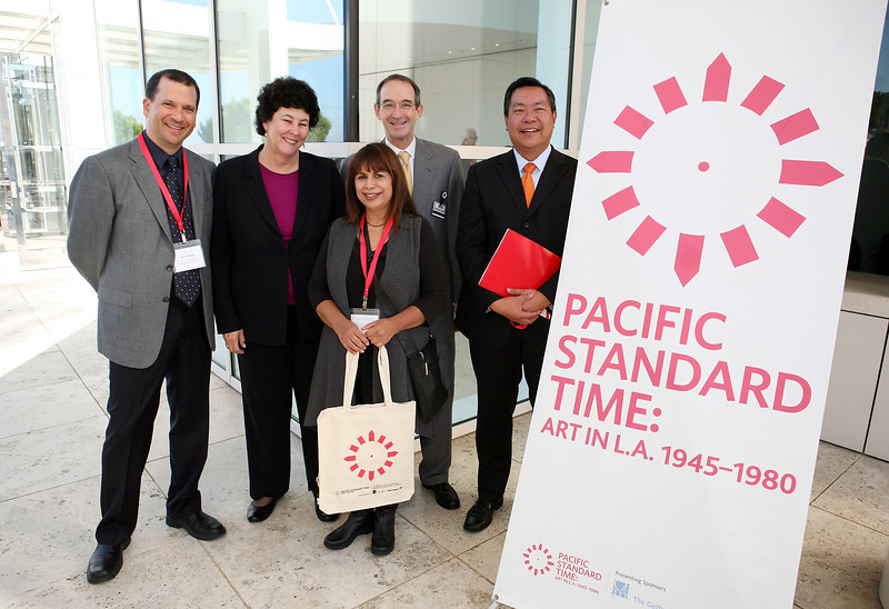 LOS ANGELES, CA - SEPTEMBER 27: (L-R) Chon Noriega, Chicano Studies Research Center, UCLA; Deborah Marrow, Director, The Getty Foundation; Patssi Valdez, Artist and ASCO member; Mark Siegel, Trustee the J. Paul Getty Trust and Garrett Gin, Senior VP, Global Marketing & Corporate Affairs, Bank of America pose during the Pacific Standard Time press conference held at the Getty Center on September 27, 2011 in Los Angeles, California. (Photo by Ryan Miller/Capture Imaging)