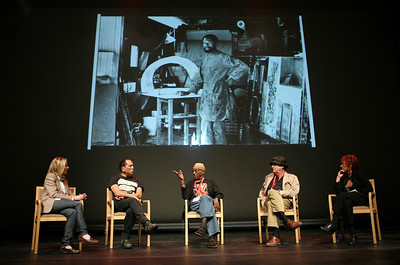 LOS ANGELES, CA - SEPTEMBER 27: (L-R) Moderator Hunter Drohojowska-Philp and Artists Gronk, John Outterbridge, Larry Bell and Judy Chicago panel discussion as part of an artist panel during the Pacific Standard Time press conference held at the Getty Center on September 27, 2011 in Los Angeles, California. (Photo by Ryan Miller/Capture Imaging)